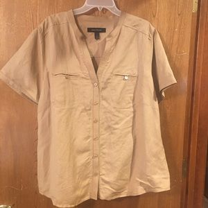 NWOT ASHLEY STEWART Latte-color, Linen Shirt, 20W